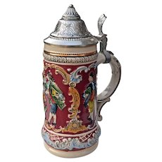 "Vintage Gerz Stein w/ Pewter lid 9"" West Germany"
