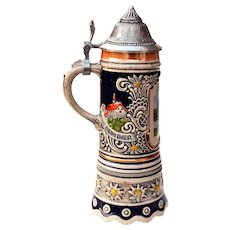 "Mapsa Musical German 9"" Stein w/ Pewter Lid"
