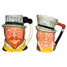 2 Lancaster Sandland Handpainted Miniature Toby Mugs: Drake & Micauber