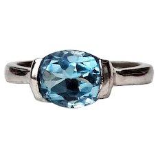 Sterling Silver Half Bezel 3 ½ Carat Blue Topaz Ring Size 71/2
