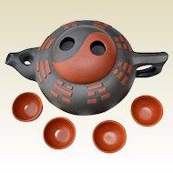 Zisha Clay Teapot Set Jiangsu Province China Yin Yang