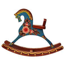 Handcrafted Hand Painted Wooden Horse from Russia Vintage 1995