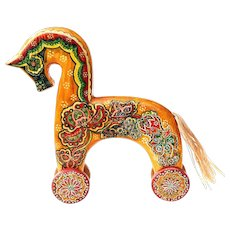 Handcrafted Hand Painted Wooden Horse from Russia Vintage 1991