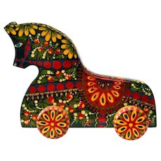 Handcrafted Hand Painted Wooden Horse from Russia