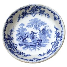 Coupe Soup Bowl Romantic Blue Pattern Mason's England