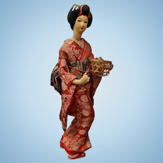 "Mid-Century Japanese Geisha Doll 17"""