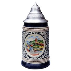 Original King German Beer Stein w/ Lid Vintage 1979