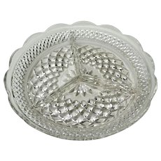 "Vintage Anchor Hocking Wexford Relish Tray 8 3/4""Diameter Crystal Clear"