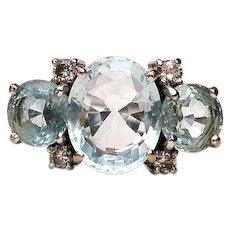 Aquamarines w/ Diamonds 18k White Gold Ring Size 8 1/4