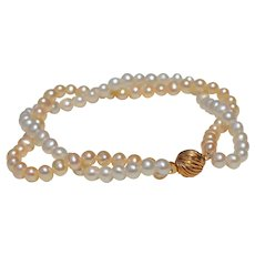 ***Summer Sale***  Peaches & Cream 14k Gold Pearl Bracelet