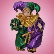 Mardi Gras Jester Doll Vintage 1980's
