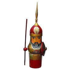 "Russian Warrior Handcrafted Hand Painted 20 ½"" Bottle Holder"