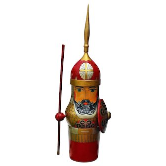 """Russian Warrior Handcrafted Hand Painted 20 ½"""" Bottle Holder"""