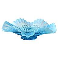 Vintage Bowl Barbells Blue Opalescent by Jefferson Glass
