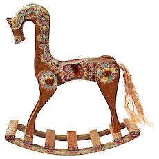 Russian Wooden Rocking Horse Vintage 1991