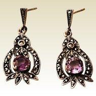 Mid-Century Marcasite Amethyst Drop Earrings for Pierced Ears