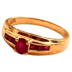 Ruby Ring Natural Russian Rubies 14k Yellow Gold