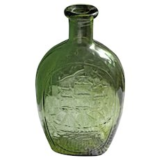 Vintage 1970's Decorative Green Glass Bottle