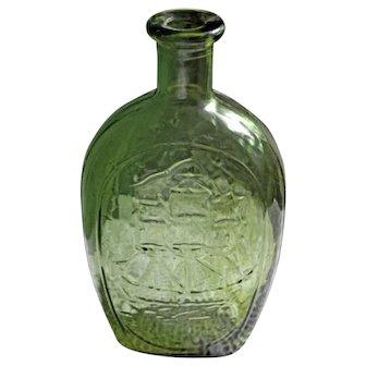 Vintage 1970's Decorative Green Glass Bottle