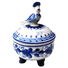 Handcrafted Gzhel Blue & White Russian Porcelain Dish w/ Bird Lid