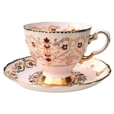 Royal Tuscan # 9186H Bone China Pink & Gold Red Dots & Scrolls Cup & Saucer