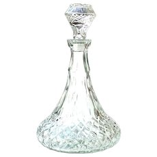 Mid-Century Ship Decanter & Stopper Libbey Glass Co Cambridge Pattern