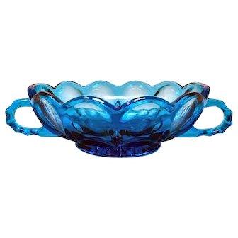Vintage Anchor Hocking Fairfield Laser Blue 2 Handle Nappy Bowl Dish