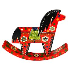 Vintage  Handcrafted Hand Painted Wooden Horse from Russia