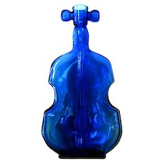 Vintage Cobalt Blue Glass Violin Bottle