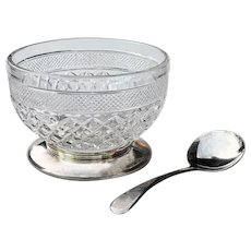 Vintage Glass Jam Bowl w/ Silverplated Base & Spoon ~ Made in England