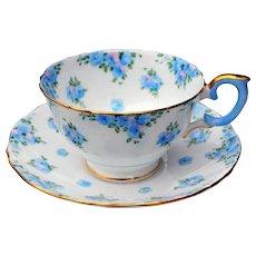 Crown Staffordshire Fine Bone China Tea Cup & Saucer w/ Blue Flowers