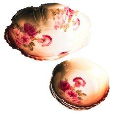 Antique Floral Porcelain Bowl Set Marseille ZS&Co Bavaria Roses  Circa 1880-1910