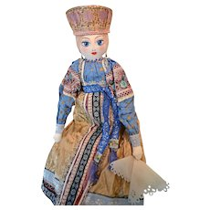 Vintage Handcrafted Russian Doll in Traditional Clothing