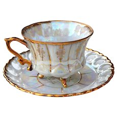 Vintage Japanese Lusterware Royal Sealy China Japan Iridescent 3-footed Cup w/  Saucer
