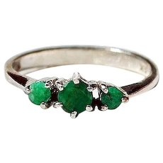 Triple Natural Emerald 18k White Gold Ring Size 5 1/4