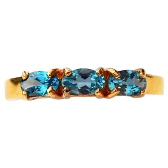 London Blue Topaz 14k Gold Band Ring