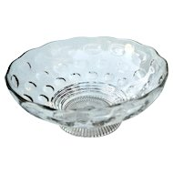 """Depression Thumbprint Footed Bowl OLIVE Imperial Glass Co  8 3/4"""""""