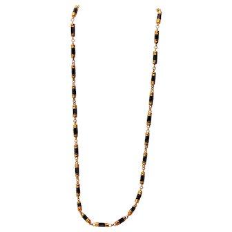 """Garnet 18K Gold Barrel 24"""" Necklace"""