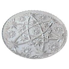 """Anchor Hocking Early American Prescut EAPC Cake Plate Tray Platter Crystal Clear Glass 11"""""""