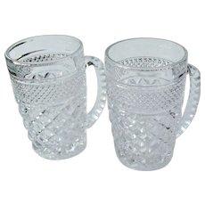 2 Vintage Anchor Hocking WEXFORD Beer Mugs Tankards 14 oz