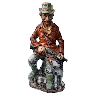 Rare Capodimonte Decanter Old Man Sitting with his Dog, Holding a Shot Gun