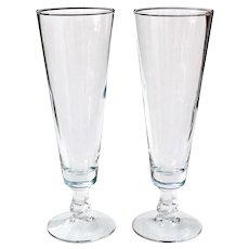"2 Mid-Century Pilsner Beer Glasses 8 1/4"""