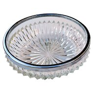 "Vintage 1960 Heavy Cut Crystal Bowl w/ Removable Silver Metal Rim 8 3/4"" Diameter"