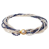 Silver Gray & White Freshwater Pearl Multi-Strand Twisted Necklace