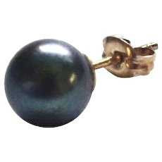 Single Black Cultured 8 mm Pearl Stud Earring w/ 14K Gold Filled Pushback