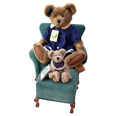 "Boyds Bears Collection: 18"" Bear, 7"" Bear, Chair & Foot Rest ~ Investment Collectables the Archive Collection"
