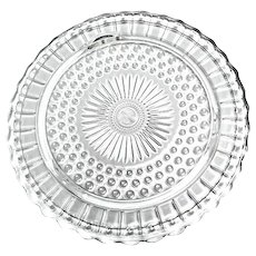 Federal Glass #2889 Winchester Bubble Dot & Sunflower Footed Glass Cake Plate