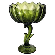 """Indiana Glass Co Lotus Blossom Green Glass 7 1/2"""" Footed Candy Dish Compote"""