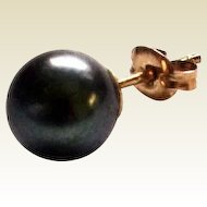 Single Black Cultured 7.2 mm Pearl Stud Earring w/ 14K Gold Pushback