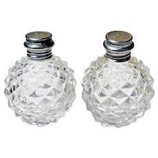 Vintage Clear Glass Hobnail Diamond Salt & Pepper Shakers